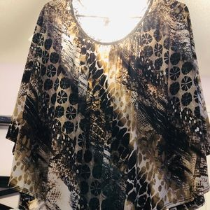 GRASS animal print & black lace top